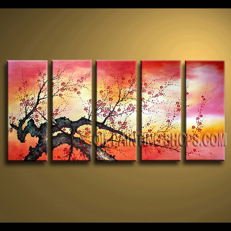 Stunning Contemporary Wall Art Hand Painted Art Paintings For Living Room  Cherry Blossom. This Part 66