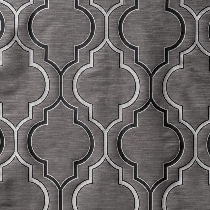 "Tryst Gunmetal Grey/Silver Moroccan Tile pattern for great room curtains | 120"" inch curtain panels"