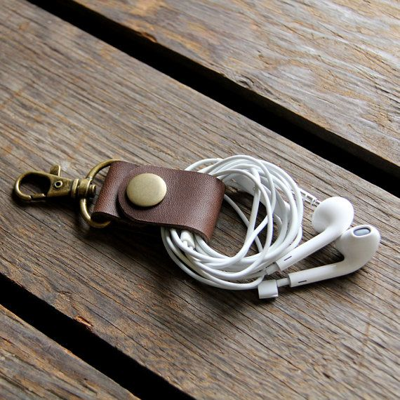 Brown Leather Cord Keeper Headphone Wrap Earbud by piprobins