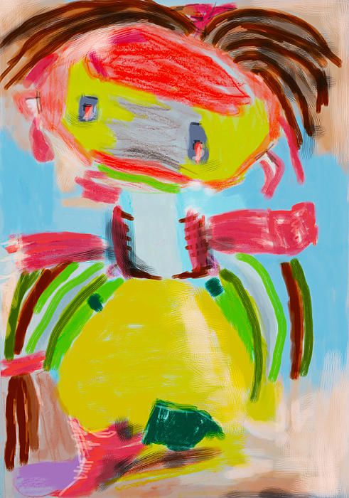 Childish painting made with Wacom drawing pad and given a very strong color expression
