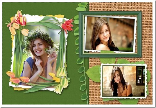 Edit Your Photos: Tulip Flowers Photo Frame with Nice Background PSD...