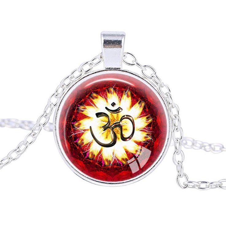 Лотоса ом йога ювелирные изделия модный ожерелье индии ожерелье мандала искусство подвески ожерелье о . м . намасте буддизм дзен ювелирные изделия удачливейших амулет