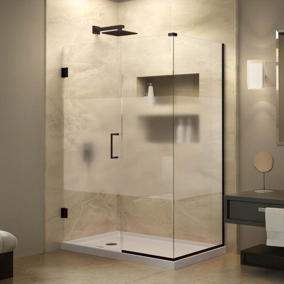 DreamLine Unidoor Plus 34-3/8 in. x 38-1/2 in. x 72 in. Hinged Shower Enclosure with Half Frosted Glass Door in Oil Rubbed Bronze