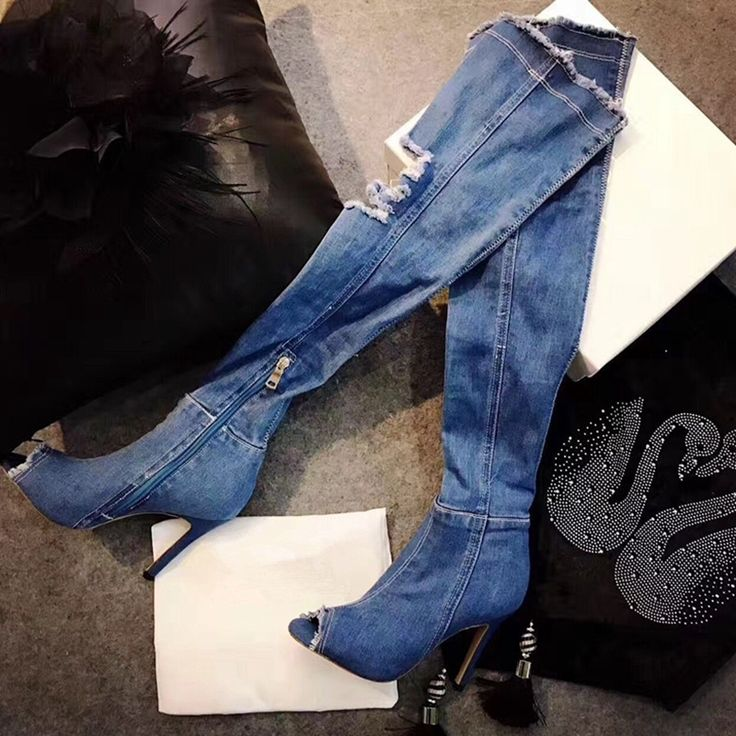 44.28$  Buy now - http://ali15g.shopchina.info/go.php?t=32810663050 - THEMOST Sexy Long motorcycle Boots Peep toe Denim Boots For Women Short Cowboy Boots Shoes Woman High-Heeled Over the Knee boots 44.28$ #magazineonlinebeautiful