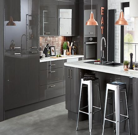 B&Q Cooke & Lewis - Raffello High Gloss Anthracite Kitchen. Kitchen-compare.com - Home - Independent Kitchen Price Comparisons