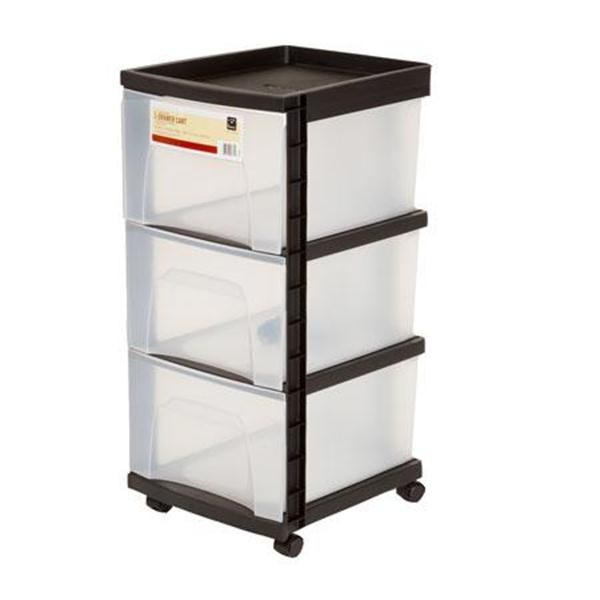 rolling storage cart with 3 drawers storage cart drawers and products. Black Bedroom Furniture Sets. Home Design Ideas