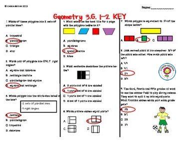 Geometry Test 3rd Grade, Printable Download