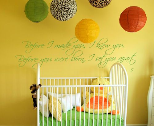 Love the bible verse above the crib but ahhhhh! NEVER paint a nursery  yellow (especially such a saturated yellow). Its proven to make babies cry and couples fight more often because it is a stress-inducing color.