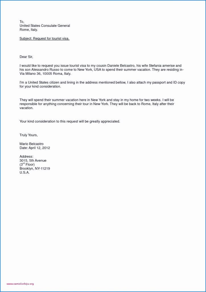 Sample Invitation Letter For Visitor Visa Usa Inspirational Sample