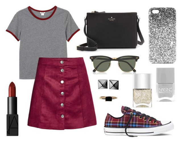"""""""Hipster Schoolgirl"""" by kk-purpleprincess ❤ liked on Polyvore featuring Monki, H&M, Converse, NARS Cosmetics, LUMO, Kate Spade, Ray-Ban, Waterford, Topshop and Nails Inc."""