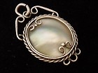 VINTAGE  Pretty White metal Ornate PENDANT & Natural Grey MOTHER OF PEARL 7.4 g