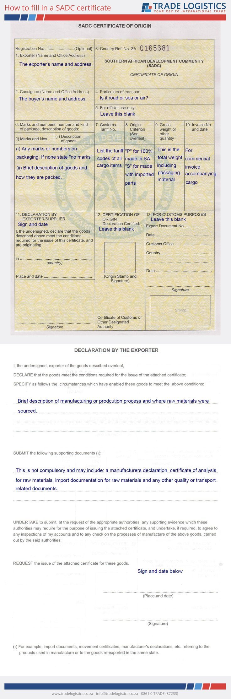 How to fill in a SADC certificate
