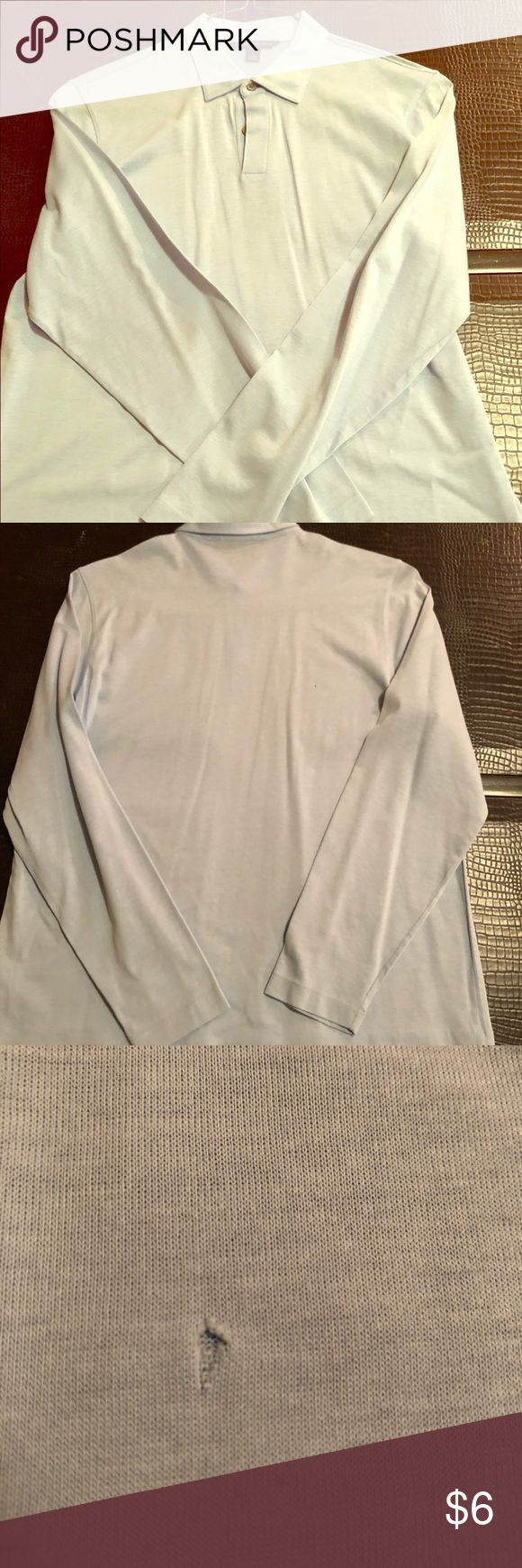 Men's Banana Republic long-sleeved polo Light blue, size large, long sleeve polo shirt. There are two tiny imperfections on the back of the shirt, I have included in pics. Banana Republic Shirts Polos