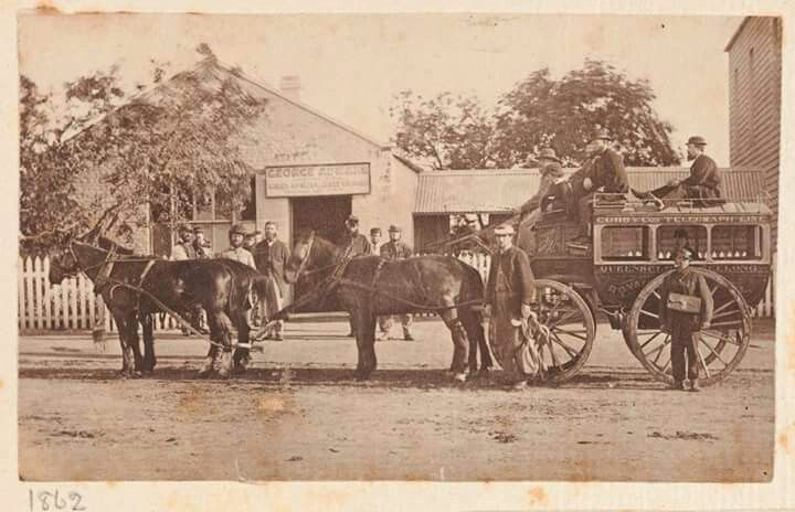 Cobb & Co. Coach at Queenscliff,Victoria in 1862. Photographer: Charles Cheney Simpson. State Library of Victoria.