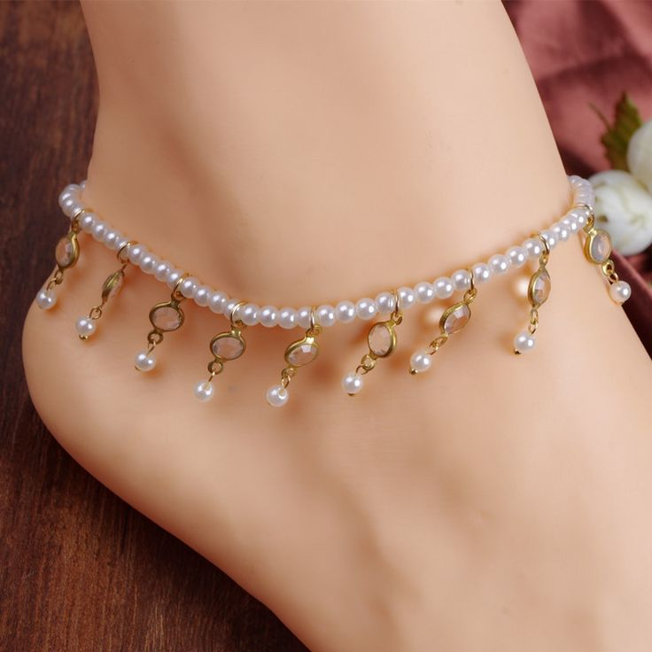 Best Deal Womens Beach Barefoot Sandal Foot Pearl Bead Jewelry Anklet Chain Tassel for Women Lady Beauty Perfect Gift 1PC