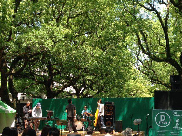 【みやざき国際ストリート音楽祭2016】 公開リハーサル終わりました! 楠並木ステージ、とても気持ち良い空間になっています。 Schroeder-Headzは15:30〜16:10出演します!!