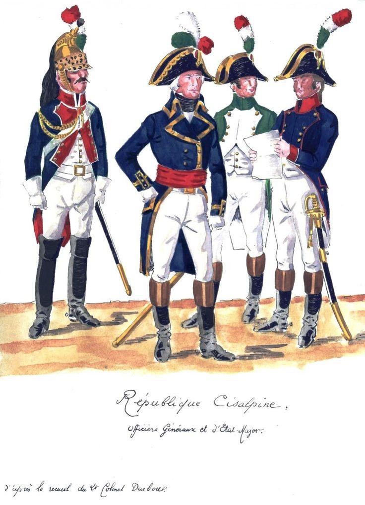 Cisalpine Republic; Etat Major 1797 Lto R Officer of Etat Major(Staff), Officer of Engineers or Sappers & Officer Horse Grenadiers, Garde de Directorie