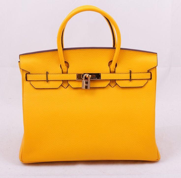Сумка Hermes Birkin (Гермес Биркин) желтая с золотистой фурнитурой, натуральная кожа, внутри тоже. Размер 35х25х18см #19432