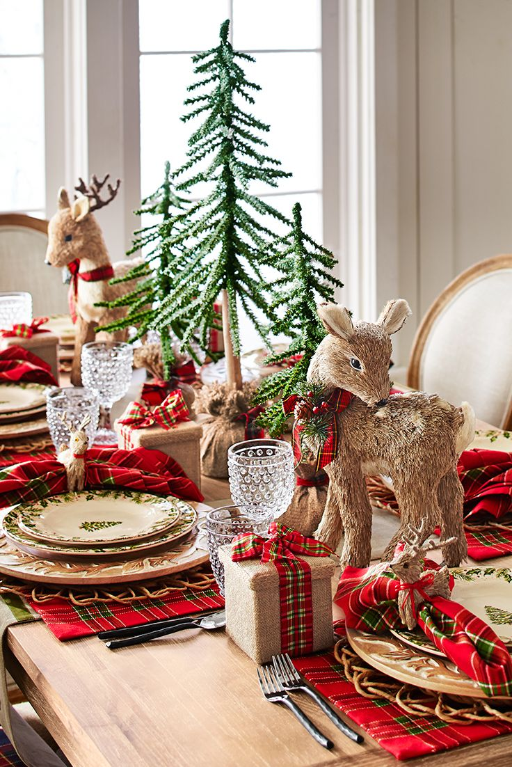 Set a pretty Christmas scene with our Winter's Wonder Dinnerware, surrounded by natural elements. Hand-carved hardwood chargers atop water hyacinth placemats. Handblown hobnail glasses. Snow-kissed faux spruce trees alongside handcrafted sisal reindeer and napkin rings. Plus, plaid linens, right down to our embellished reindeer table runner. Winter wonderful from Pier 1.