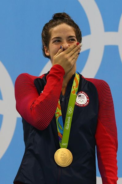 #RIO2016 Gold medalist Madeline Dirado of the United States celebrates on the podium during the medal ceremony for the Women's 200m Backstroke Final on Day 7...