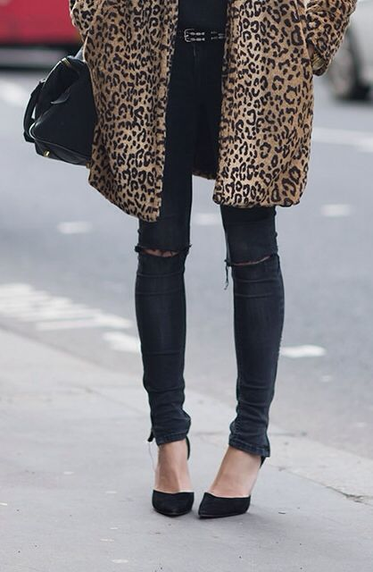 leopard + black style fashion women black clothing womens leopard streestsyle