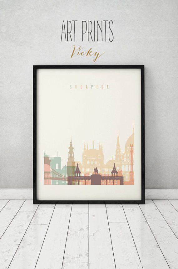 Budapest afdrukken Poster kunst aan de muur de skyline van