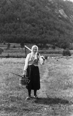 Digitalt Museum - Kari Hodne går med ljå, rive og bøtte bortover en smal vei i gress til slått. Åseral 1943.