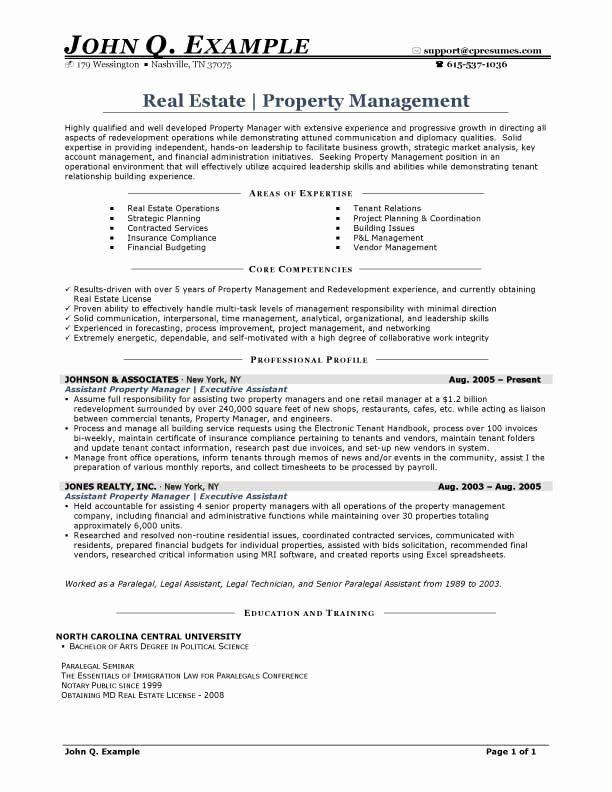 Property Management Resume Examples Elegant Property Manager