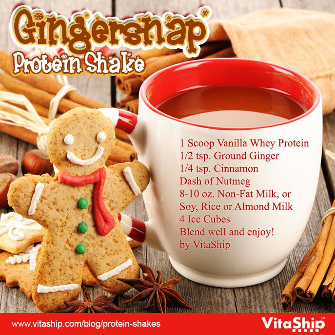 1 Scoop Vanilla Whey Protein 1/2 tsp. Ground Ginger 1/4 tsp. Cinnamon Dash of Nutmeg 8-10 oz. Non-Fat Milk, or Soy, Rice or Almond Milk 4 Ice Cubes