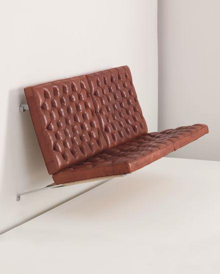 Poul Kjaerholm, Suspended sofa, model no. PK 26 Seamless bent brushed steel  frame