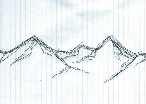 go-climb-the-mountains:  Quick 3 min mountain sketch with ballpoint pen.
