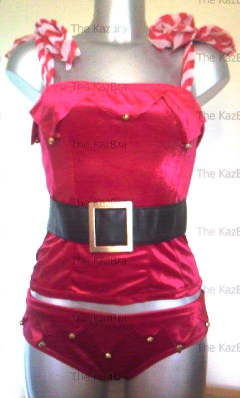 Christmas Red Velvet Santa Jingle Bustier & Knickers 10 NEW Stripe Tie Straps