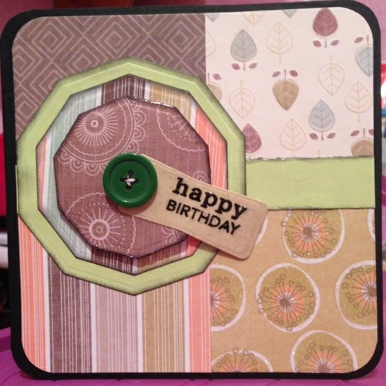"""5.5""""x5.5"""" stacked decagons masculine birthday card!"""