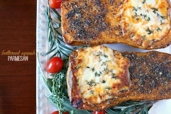 We packed butternut squash full of quick homemade tomatoe sauce and cheese for a tasty vegetarian Parmesan.