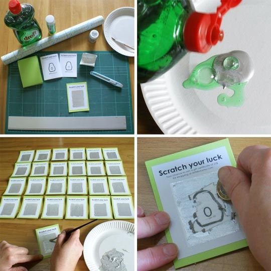 DIY scratch-off cards!  Who's gonna have the coolest homemade valentines at preschool this year?Creative Ideas, 091609 Scratchoff Jpg, Daily Chore, Parties Ideas, April Fools Jokes, Diy Scratch, Crafts Diy, Scratch Off, Crafty Ideas