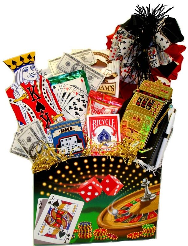 Lucky Bet Casino Poker Themed Gift Basket Box (Large):