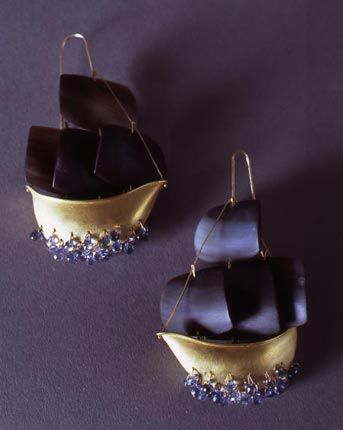 Earrings | Gabriella Kiss. Pirate ships with crystal waves