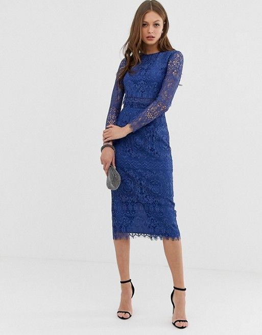 833465dfd4d DESIGN lace long sleeve midi pencil dress in 2019 | Get In My Closet ...