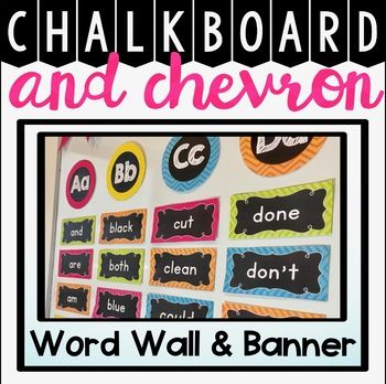 Word Wall Display in Chalkboard and Chevron  Decorate your classroom this year with this stylish chalkboard and chevron word wall display package.   The following items are included: *Word Wall headers in circle and rectangle format *over 200 high frequency word wall cards  *Editable options for word cards, bunting and headers