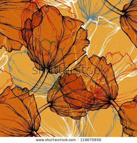 Seamless pattern with blooming tulips, hand-drawing. Vector illustration. eps10
