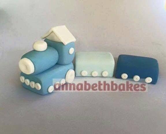 Blue train, fondant cake topper - annabethbakes
