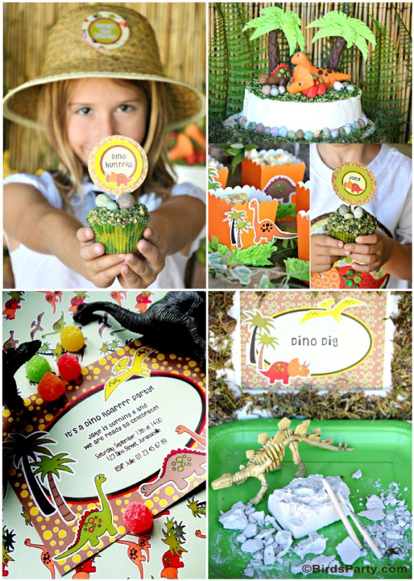Top 10 Kids Birthday Party Themes for Fall by Bird's Party #dinosaur #party