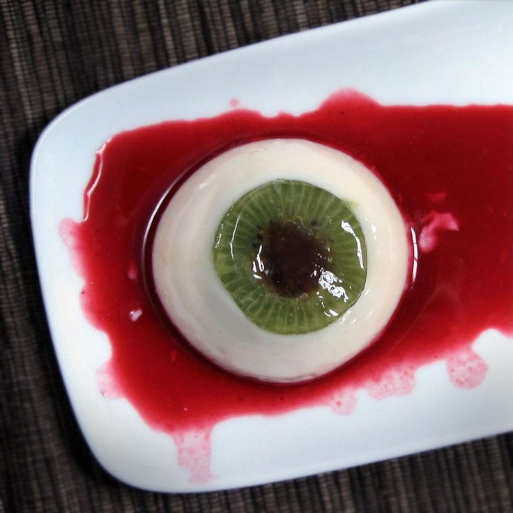 Creepy Coconut Kiwi Panna Cotta #halloween #food