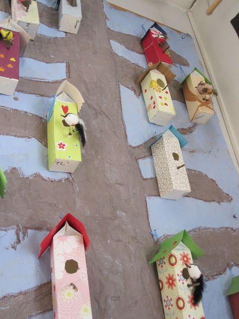 Milk cartons as bird houses!