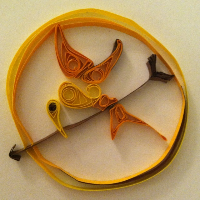 Quilled Mockingjay (Hunger Games)  ... I'm a beginner to quilling, still trying to perfect my technique. :)