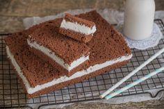 La Torta Kinder Fetta a Latte è un dolce da forno a base pan di Spagna al cacao e crema al latte, per merende o colazioni da leccarsi i baffi.