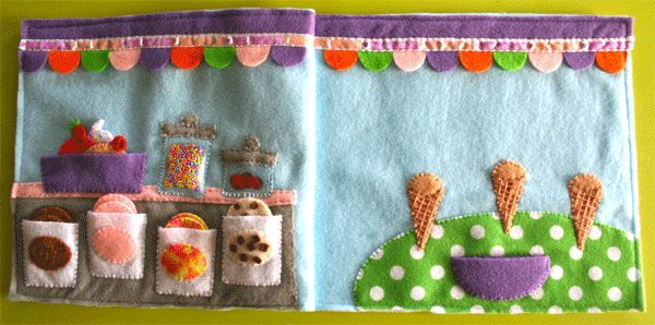 Ice Cream Parlor page from a year of quiet book pages from Imagine Our Life blog.  Matching, counting, fun!
