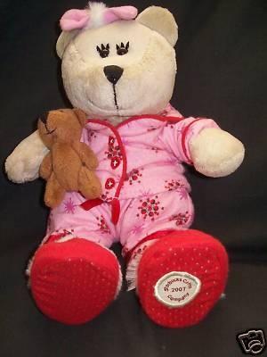 2007 Starbucks Company Bearista Bear Plush Holiday Pink Red Pajama's Dressed Christmas 69th Edition  $17.58 on sale now