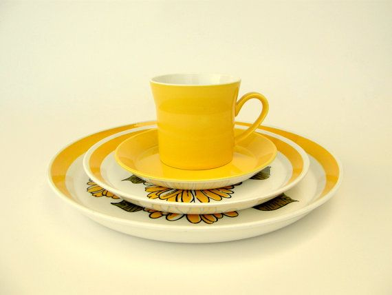 Mod Yellow Coffee Cups & Saucers Sugar Bowl by SusabellaBrownstein