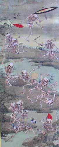 [Japanese] Frolicking Skeleton - by Kawanabe Kyosai